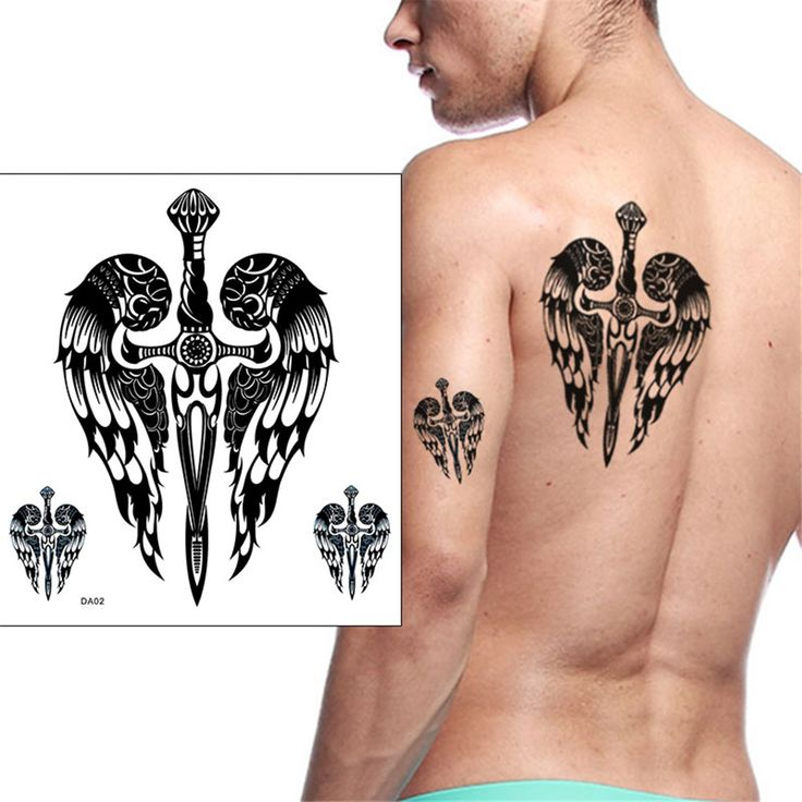 1sheet Black Men Tattoo Sticker Large Tattoo Totem Cross Birds Temporary Tattoo Arm Body Art Men Women Back Arm Tatoo tatuagem