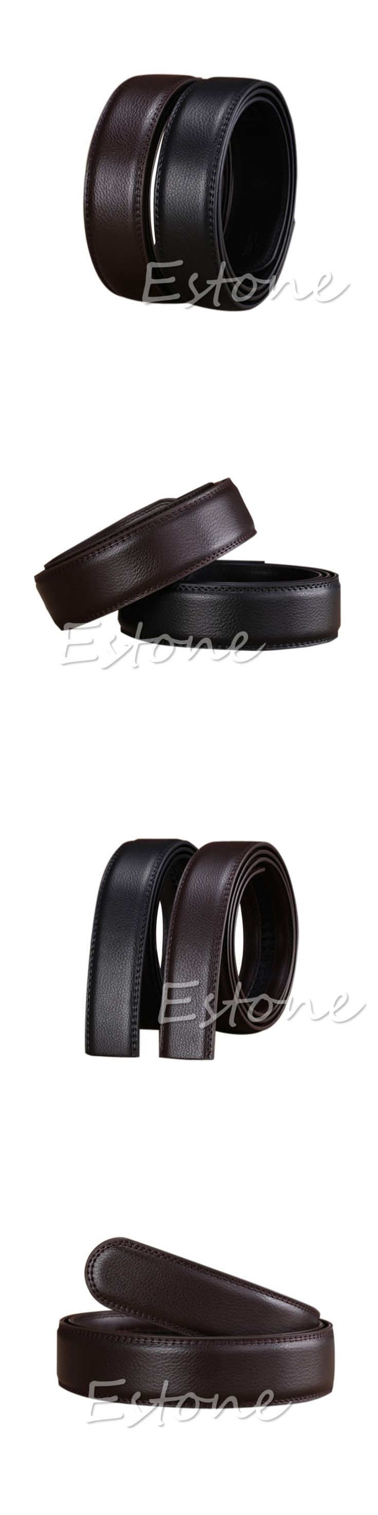 Luxury Men Leather Automatic Ribbon Waist Strap Belt Without Buckle POP Male Solid High Quality Fashion Faux Leather Belt