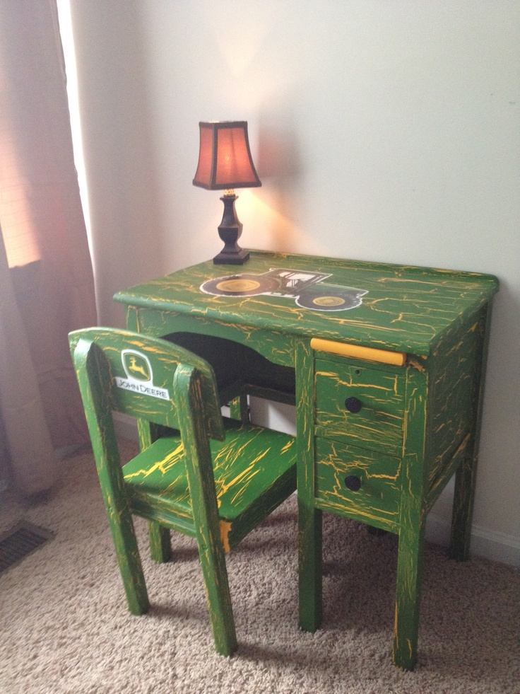 I bought this desk for $60 at an antique store. It was white, and this is my outcome for my son's farm/tractor room