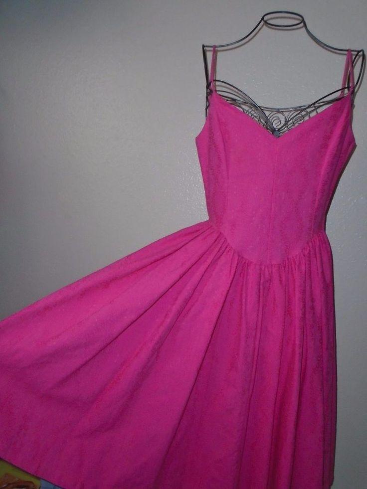 Vintage 1980s BETSEY JOHNSON Hot Pink Punk Label Pretty in Pink Dress sz M #BetseyJohnson #TeaDress #Clubwear