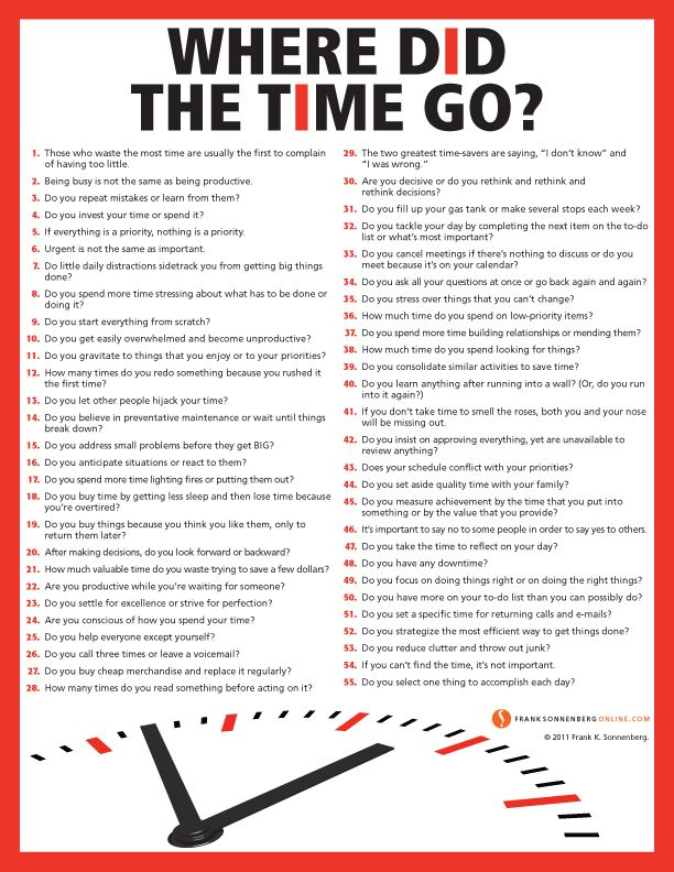 Where Did the Time Go? Good things to consider as we go about our daily lives that can often be so 'busy' but not necessarily productive.