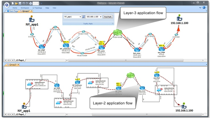 NetBrain -  A typical network diagram can take hours to build with Visio. Second generation diagramming software allows engineers to quickly create diagrams in batch mode, leveraging SNMP discovery, but the result is unsatisfactory. These tools work only on small networks with stringent configuration criteria, making them difficult to scale. To overcome these challenges, NetBrain introduced the third generation of network diagramming software featuring the dynamic network diagram.