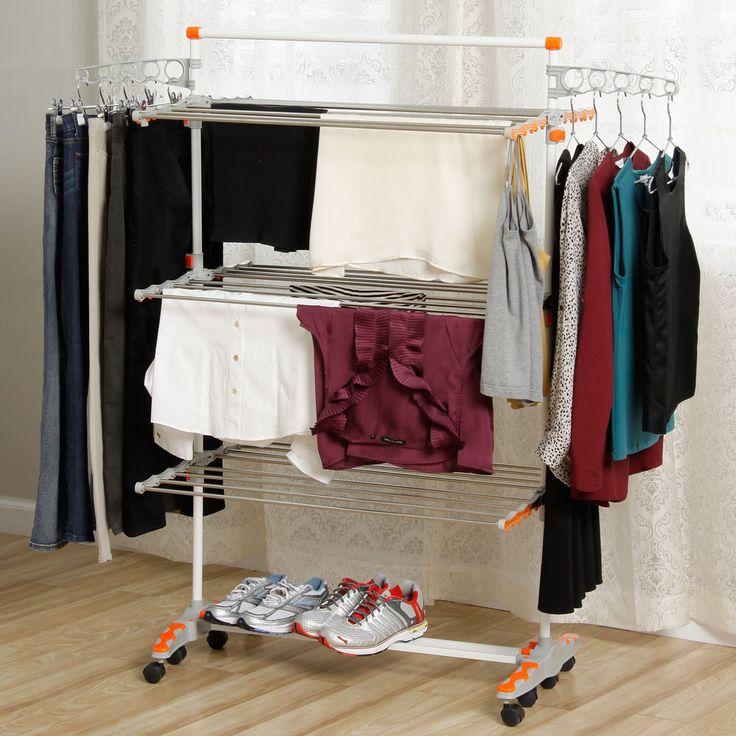 Honey Can Do Laundry Storage Station home organizer hanging rack holder shelves