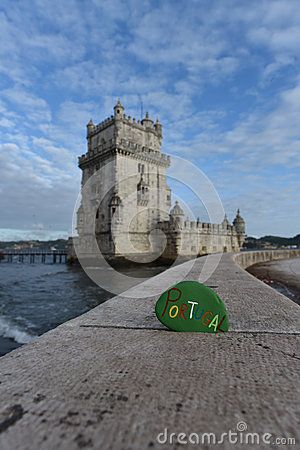 Lisbon, Belem Tower with a stone souvenir