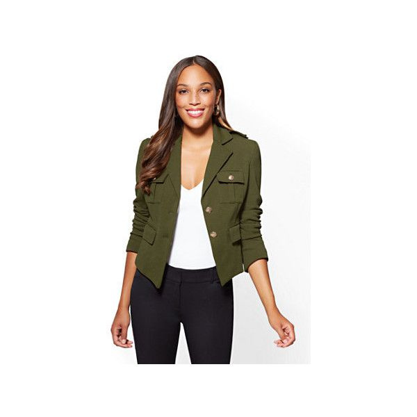 7th Avenue Knit Military Jacket ($36) ❤ liked on Polyvore featuring outerwear, jackets, green, lined field jacket, military field jacket, military army jacket, green army jackets and field jackets