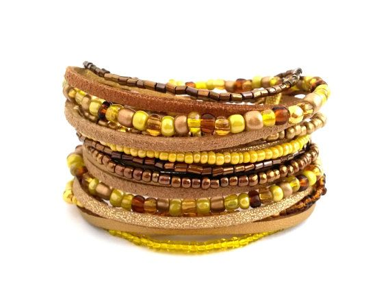 Yellow Gold Brown Wrap Bracelet Seed Bead by AccessoriesByLO