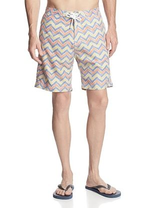 59% OFF TRUNKS Men's Swami Print Boardshorts (Yellow Zig Zags)