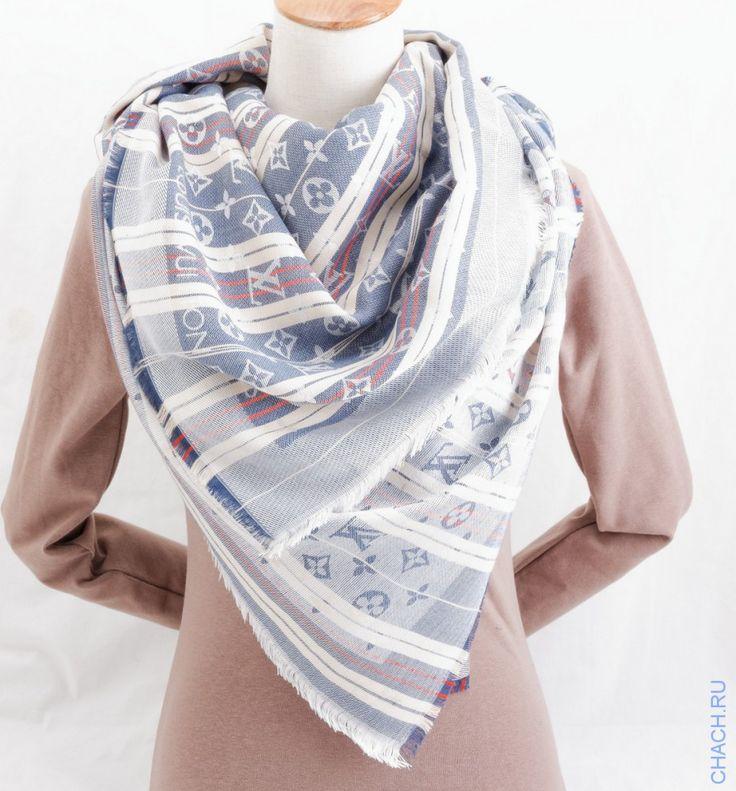 Теплый палантин Louis Vuitton в полоску и с монограммами, синего цвета