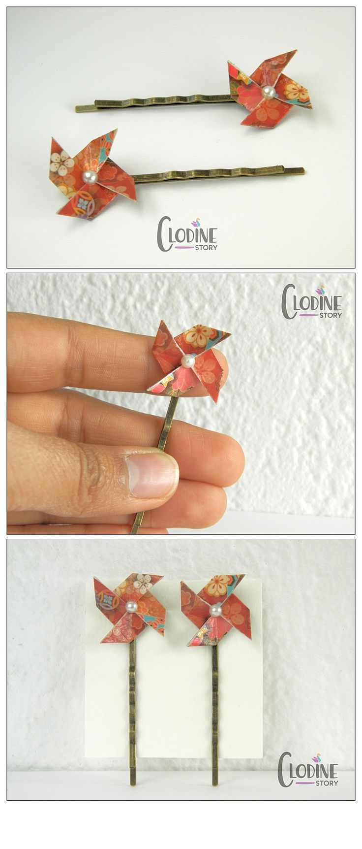 Red origami pinwheel hair pins, Origami hair accessories, Handmade hair pins, Pinwheel papercrafts, Papercrafted, Geometric jewelry, Gift idea, Hair pin