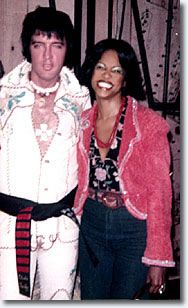 Elvis and Stephanie Spruill, in a rare photo opportunity, back stage at Caesars Palace, after one of her many successful performances with Tom Jones.