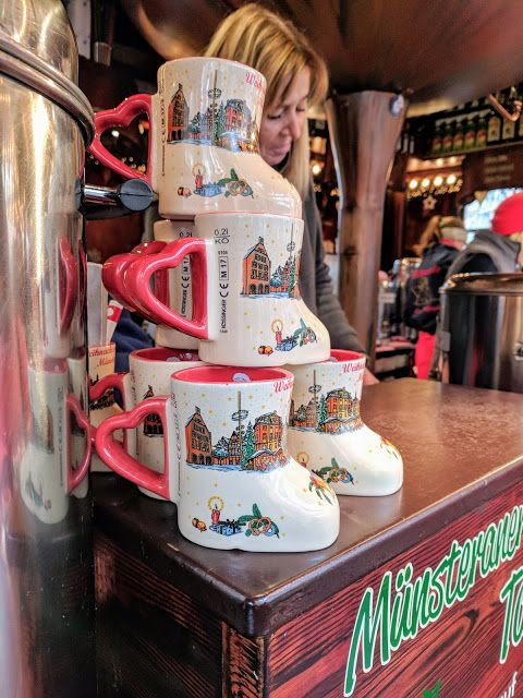 Boot-shaped Christmas mugs at the Münster Christmas Market in North Rhine-Westphalia Germany