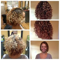 Medium hair perm with pink and grey rods