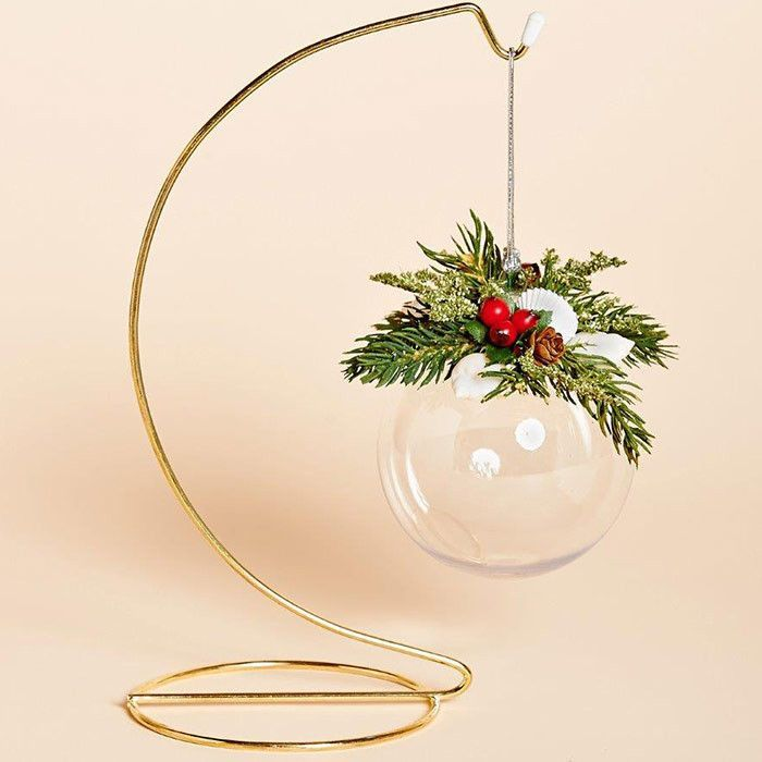 83MM Acrylic Ball Ornament with White Shells, Red Berries and Faux Pine