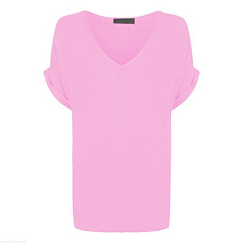 Women Oversized Baggy Loose Fit Turn up Batwing Sleeve Tunic Top T shirt UK 828 810 SM Baby Pink * More info could be found at the image url.Note:It is affiliate link to Amazon.