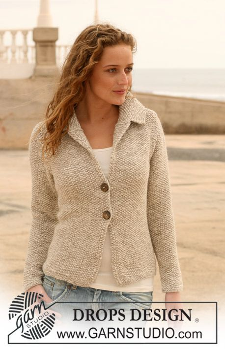 """DROPS jacket in seed st in """"Alpaca"""" with collar. Size S - XXXL. ~ DROPS Design:"""