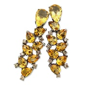 This 18K white gold citrine and champagne diamonds earrings features 0.70 carat of sparkling champagne diamonds and 16 carat of eye-catching citrine. Total weight of this lovely earrings is 17.1gr.   Citrine is the modern November birthstone.   Timeless beauty! Perfect for special occasion wear.