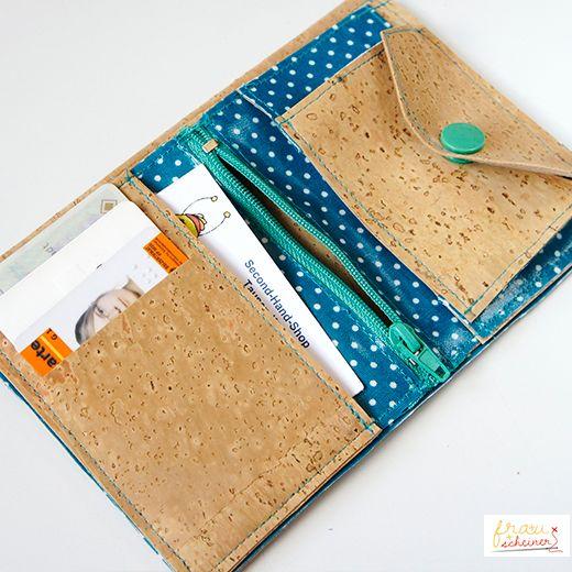 Korkstoff Portemonnaie zum selber nähen, Kork nähen, cork, cork skin, cork fabric, sewing, pattern, Nähanleitung, Geldbörse, Geldbeutel, Schnittmuster, Portemonnaie