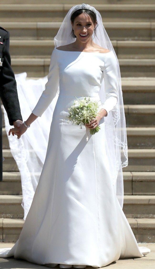 Meghan Markle Weds Prince Harry Elegante Lange Armel Brautkleid Konigliche Hochzeitskleider Brautkleid Lange Armel Schone Brautkleider