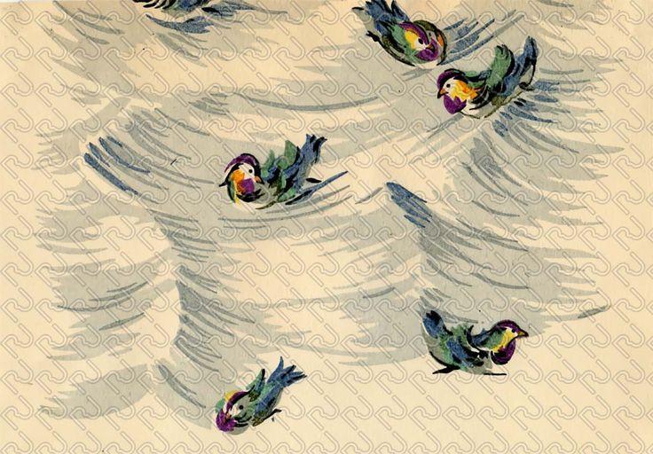 (9129) bird romantic watercolor painting – uccello romantico acquarellato pittorico – Imagesfashiontextiles
