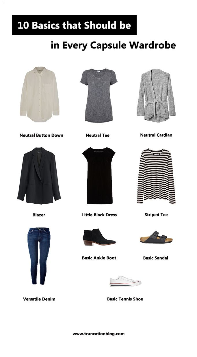 Karin Rambo of truncationblog.com shares 10 basics that should be included in every capsule wardrobe.