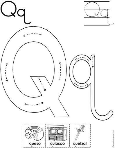letra q fichas del abecedario y el alfabeto para descargar gratis para imprimir de niños