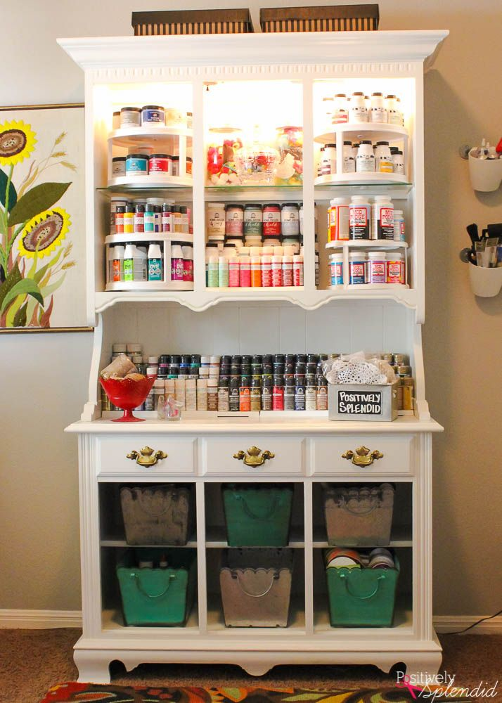 An idea to transform an antique hutch into a craft storage center for craft supplies with paint and a few other basic supplies.