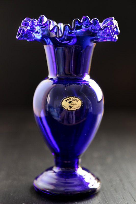 Cobalt blue vase  Bohemia Crystal by yellowfoxshop on Etsy