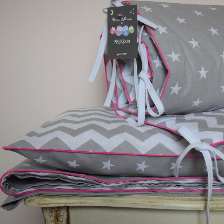 stars bedding.100%COTTON Cot Bed Duvet Cover Set Girls Stars Chevron Zig zag Pink piping Baby