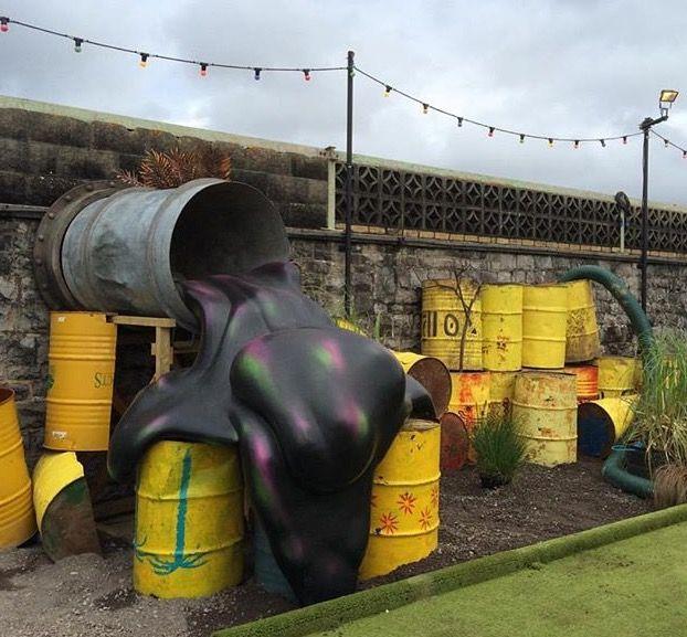 mini golf course at Banksy's Dismaland, UK, 8/15 (LP)