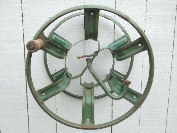 Vintage Garden Hose Holder Green Industrial Art By By Modernlogic, $55.00