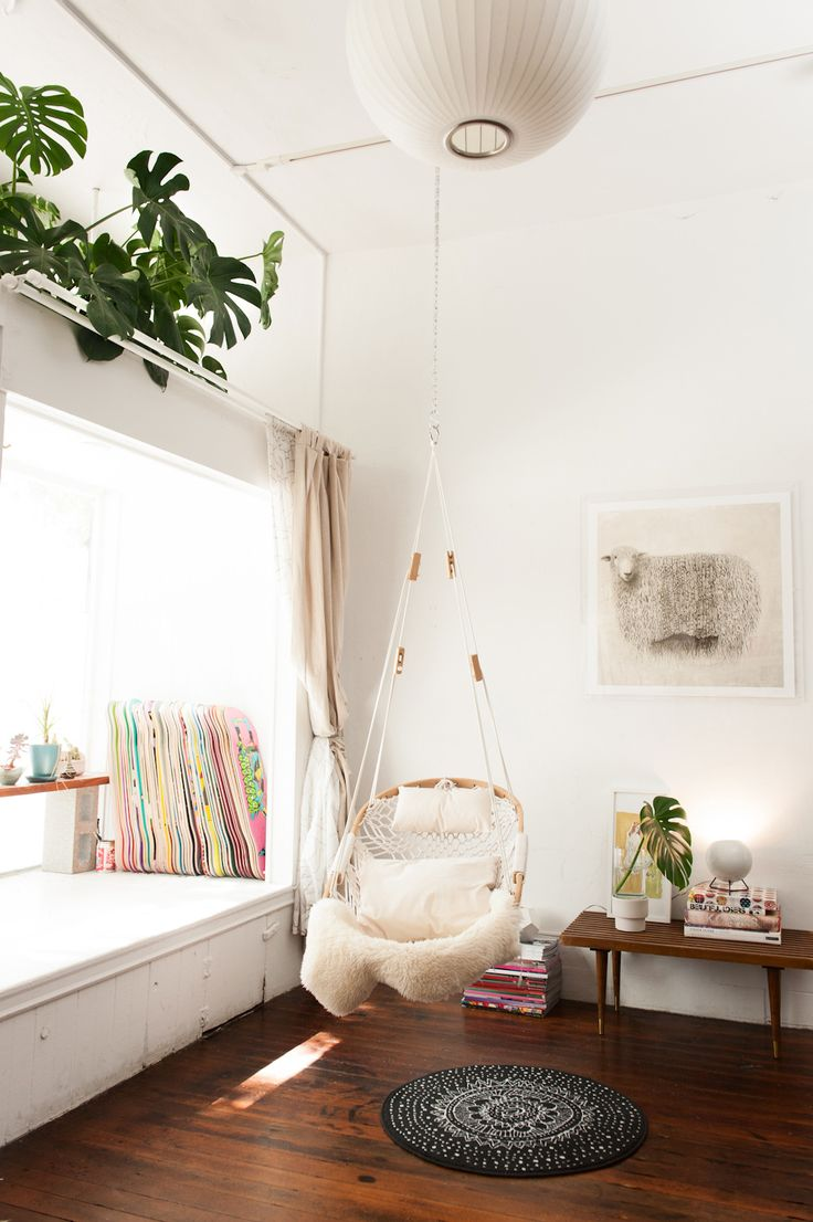 "How To DIY A Tiny Space — For Big Results #refinery29  http://www.refinery29.com/small-san-francisco-apartment#slide11  Ignore Indoor/Outdoor Rules ""Who said swings were for outdoor use only? This swing from Gravel  Gold is a great spot for some magazine reading and, when the sun hits, napping.  Challenging the conventional use of items is always a DO!"""