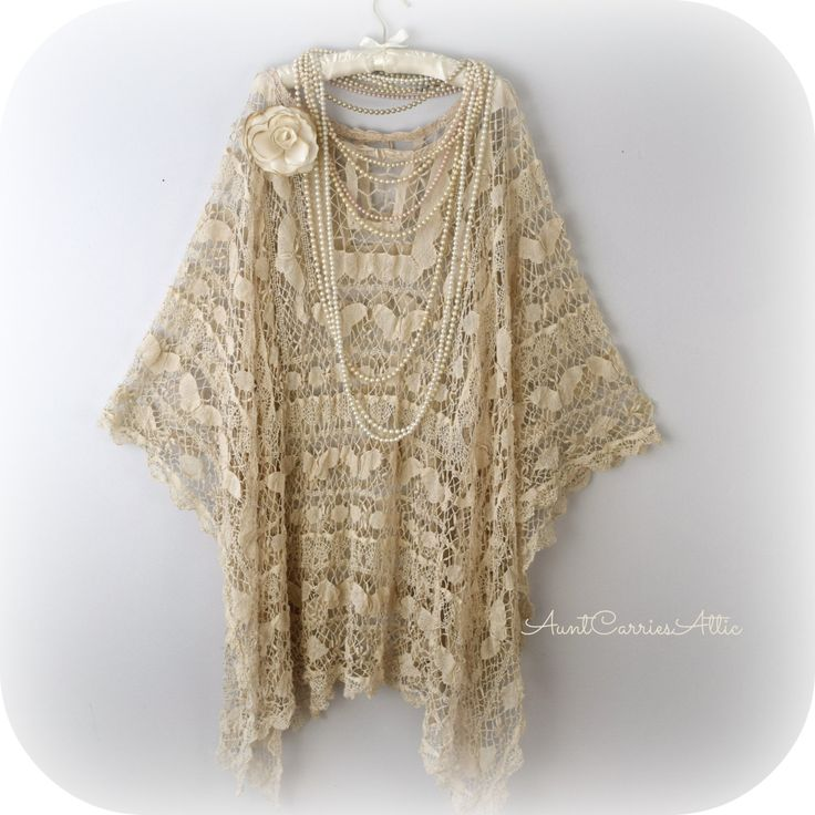 Coachella Shawl Festival Poncho Hippie Poncho Gypsy Tunic Lace Shawl Bohemian Poncho Delicate Vintage Lace Tea Stained by auntcarriesattic on Etsy
