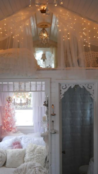 So pretty. Love the idea of a little nook in her room that has the twinkle lights - her own little fair tale get away