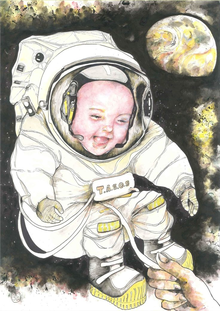 """""""Ladies & gentlemen, we 're floating in space #2 /  T.A.S.O.S project"""",  custom-made portrait  (42 x 29,7, ink on paper)"""