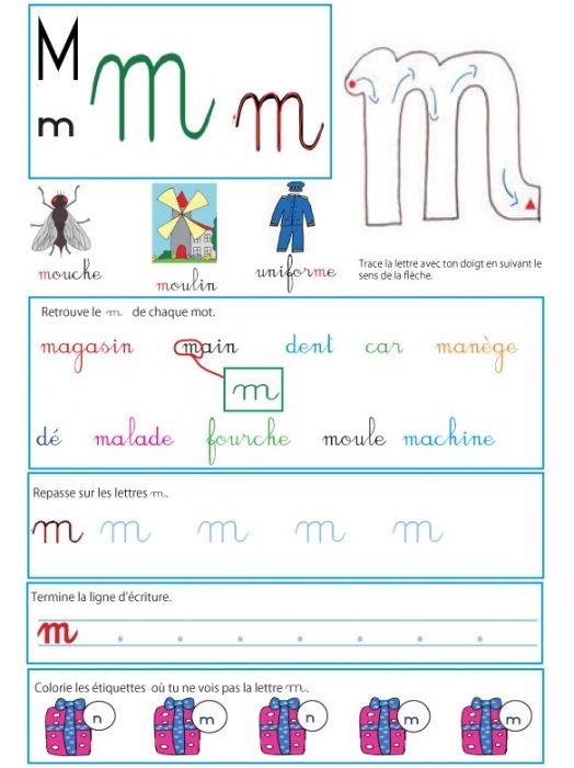 """Page d'activité sur le """" m"""" - Livre GS / CP sur les minuscules"""