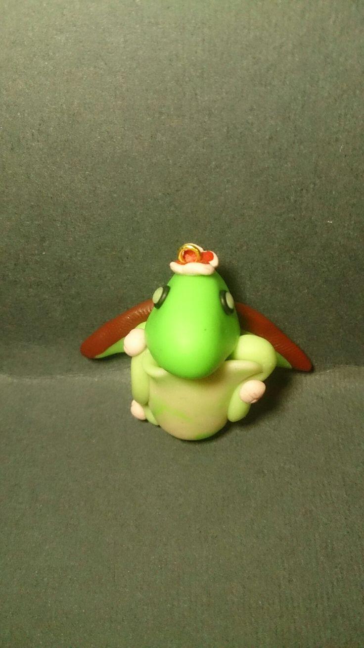 Polymer clay nature dragon with egg charm