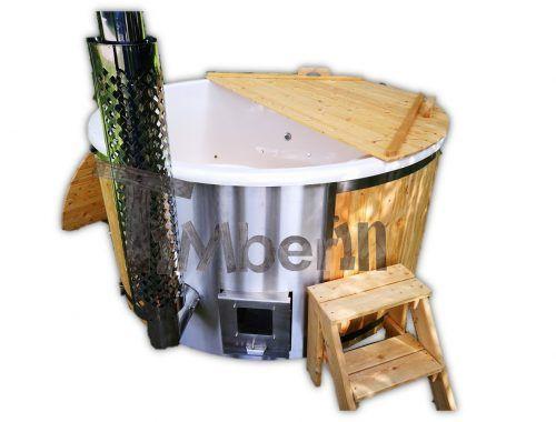 Vildmarksbad i glasfiber Gran, Lærk med integreret ovn Wellness Deluxe TimberIN