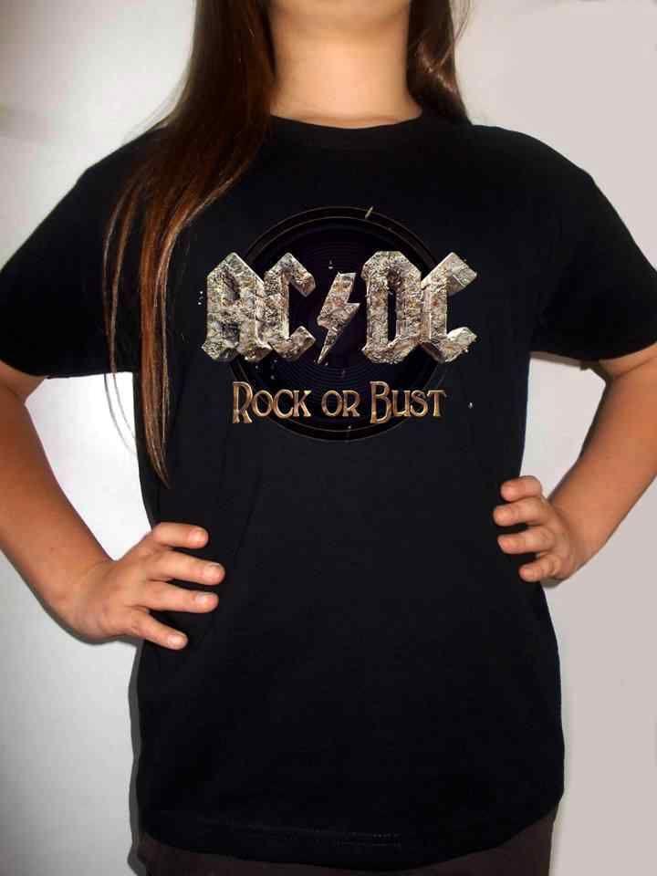 AC DC ROCK OR BUST t-shirt BLACK ACDC shirt clothing kid toddler children ac//dc