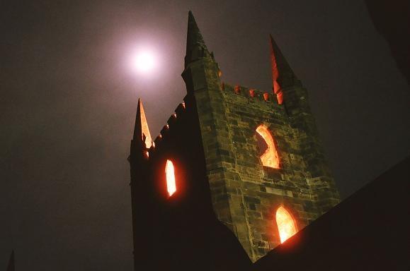 Port Arthur, Tasmania.  Ruined church on night tour