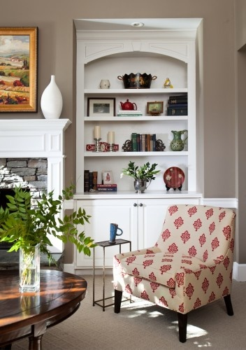 wall color and painted built in shelves and cabinet