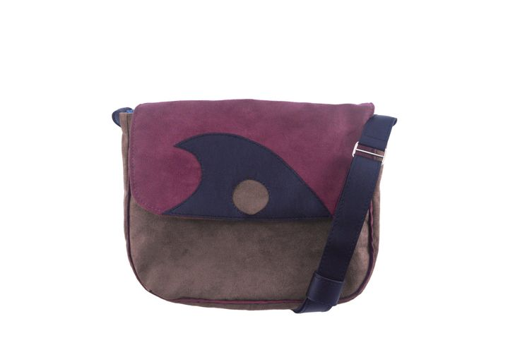 Handmade handbag with a flap! small for ladies handmade of faux suede and faux leather by YapokBags on Etsy