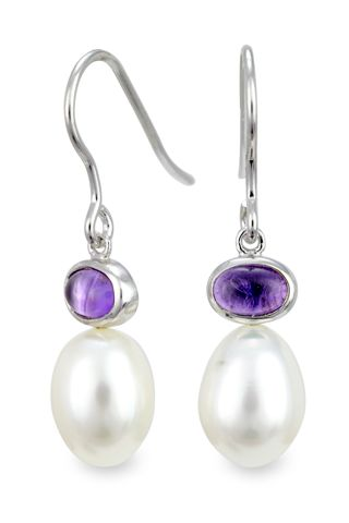 Sterling Silver Amethyst and Pearl Drop Earrings | Cirque Jewels