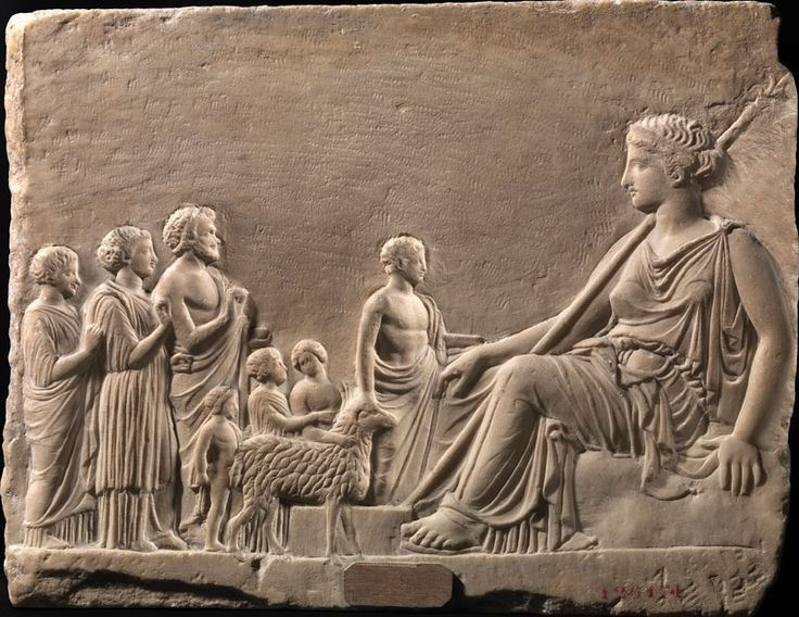 Votive marble Relief with Aphrodite and Devotees - from ancient Greek area, circa 4th c. BCE - at the Museum of Napoli