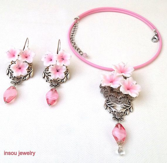 Pink Jewelry, Sakura, Cherry Blossom Jewelry, Pink Flower Earrings, Pink Dangle Earrings, Sakura Necklace, Floral Jewelry,Spring Jewelry Set