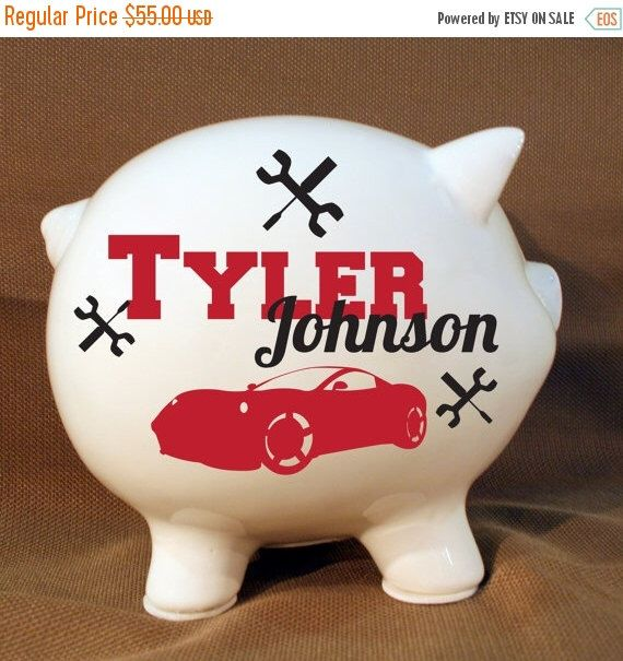 """ON SALE - 8"""" Car Piggy Bank - Custom Tools and Car Bank, Extra Large Piggy Bank by LEVinyl on Etsy https://www.etsy.com/listing/204154412/on-sale-8-car-piggy-bank-custom-tools"""
