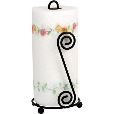 spectrum scroll paper towel holder  black paper  towels