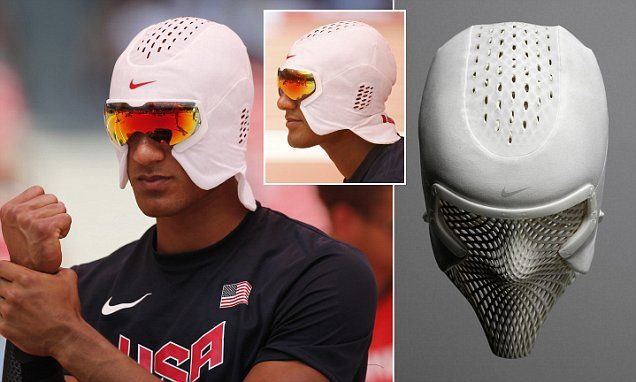 Ashton Eaton trials new Nike 'cooling mask'