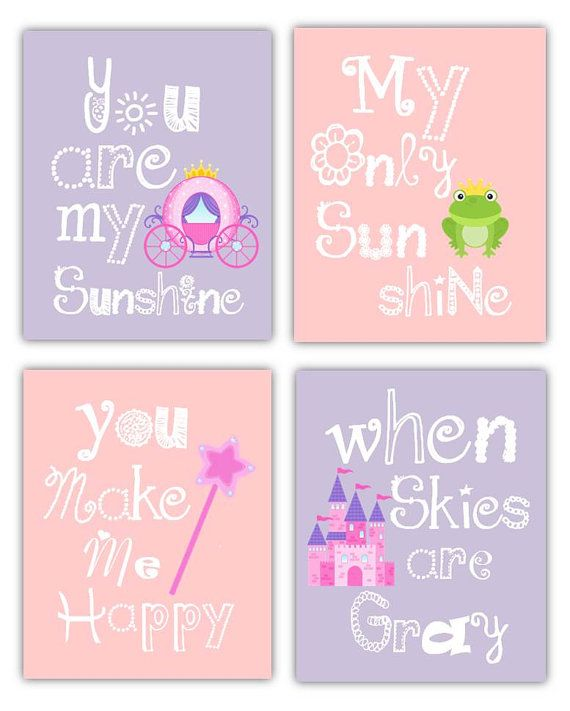 Princess Wall Art // Princess Decor // You Are My Sunshine Art // Princess  Art for Girls // Princess Nursery Decor // 4-8x10prints