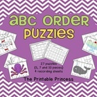 27 puzzles to teach ABC order (letters and words). Puzzles come in both color and black and white. Puzzles get progressively harder, making this perfect for introducing the skill as well as reinforcing ABC order! 4 recording sheets so you can use it as a center.
