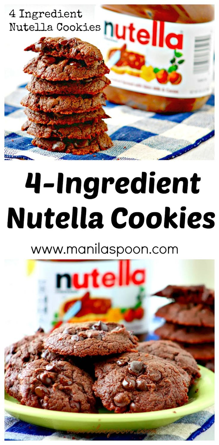 Super-easy and truly yummy are these 4-Ingredient Nutella Cookies! You must absolutely try this if you're a big Nutella fan! Delicious cookie treat for Valentine's Day! | manilaspoon.com